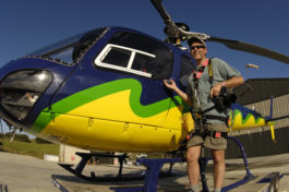 Brian Skerry with helicopter