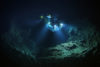 The submersible DeepSee hovers nearly 600-feet deep over the caldera of an ancient, dormant volcano on the seamount Las Gemelas located 500-miles off the pacific coast of Costa Rica.